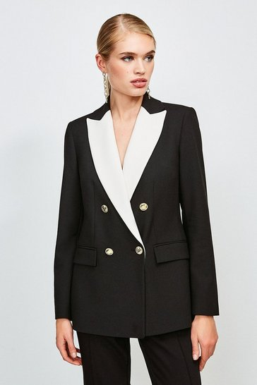 Black Clean Compact Contrast Lapel Double Breasted Jacket