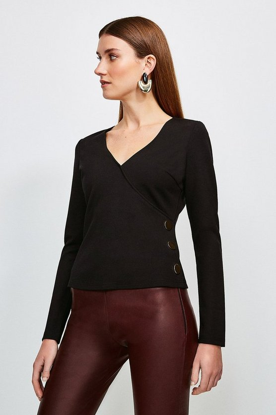 Black Button Wrap Ponte Top