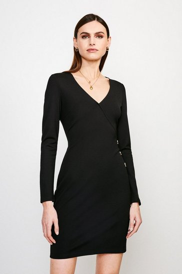 Black Button Wrap Ponte Dress