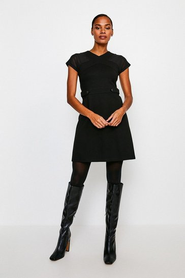 Black Rivet And Mesh Ponte Dress