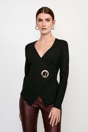 Black Strong Shoulder Eyelet Ponte Top