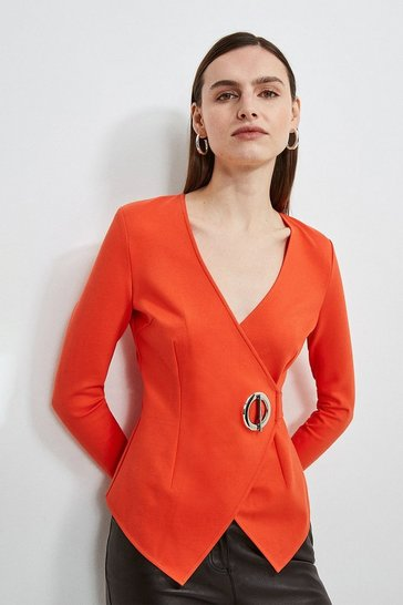Orange Strong Shoulder Eyelet Ponte Top