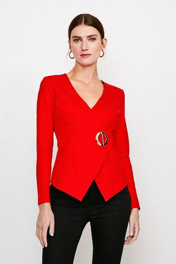 Red Strong Shoulder Eyelet Ponte Top
