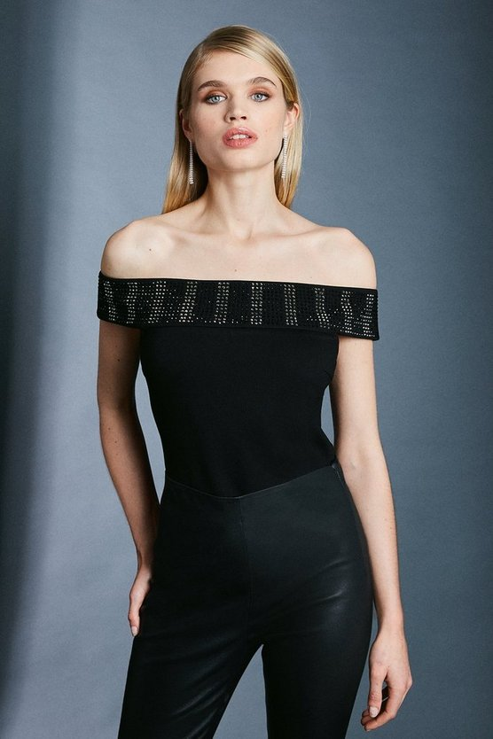 Black Hotfix Bardot Ponte Top