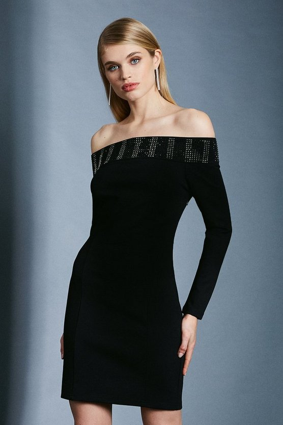 Black Hotfix Bardot Ponte Dress