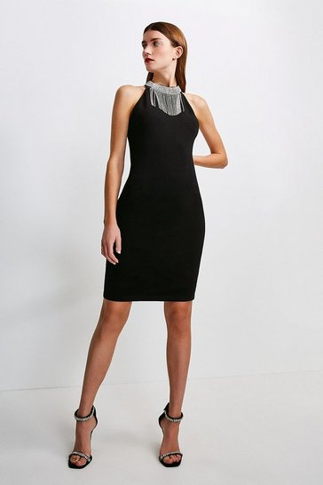 Black Diamante Halter Ponte Dress
