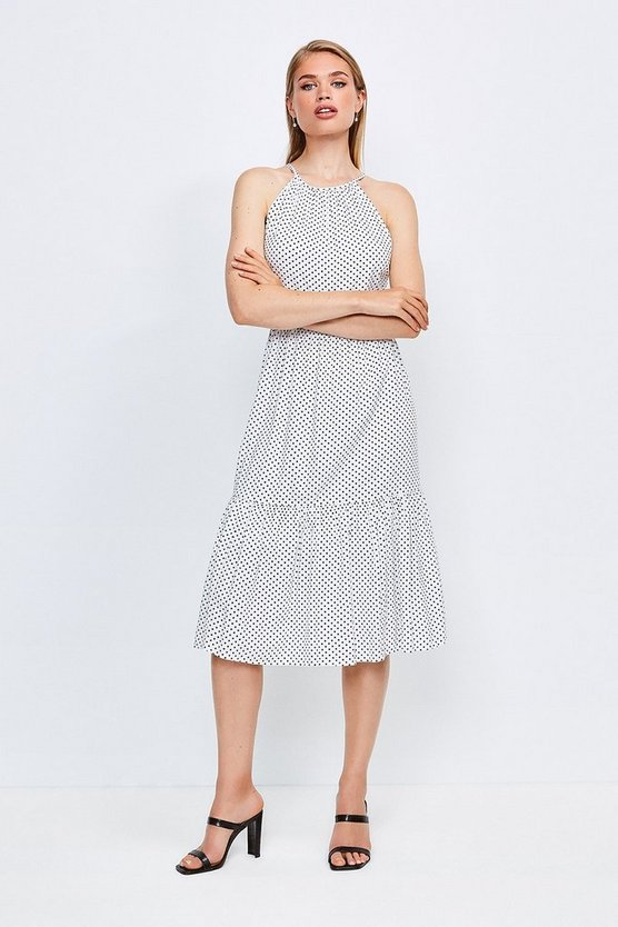 White Spot Print Halter Midi Dress