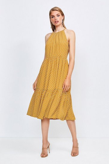 Yellow Spot Print Halter Midi Dress