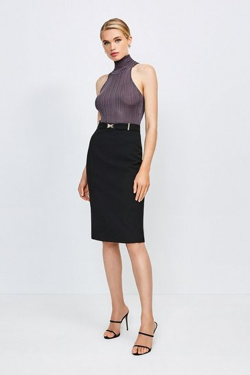 Black Forever Cinch Belted Pencil Skirt