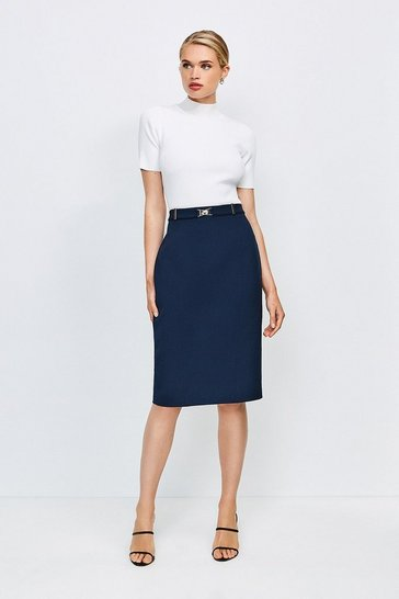 Navy Forever Cinch Belted Pencil Skirt
