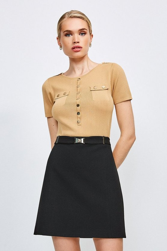 Black Forever Cinch Belted A Line Skirt