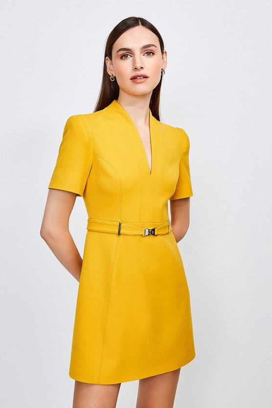 Ochre Forever Cinch Belted  A Line Dress