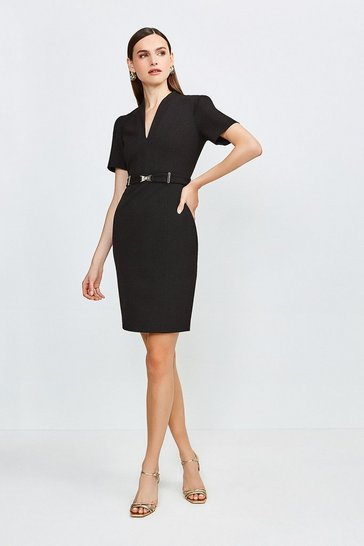 Black Forever Cinch Belted Pencil Dress