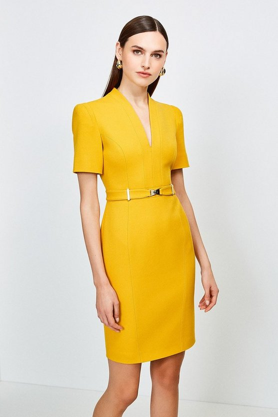 Ochre Forever Cinch Belted Pencil Dress