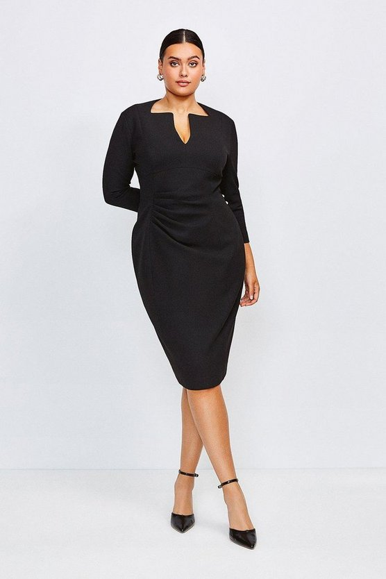 Black Curve Sleeved Envelope Neck Dress