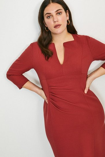 Rust Curve Sleeved Envelope Neck Dress