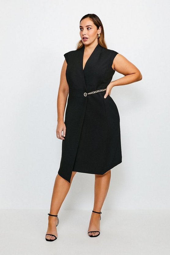 Black Curve Compact Stretch Chain Link Wrap Dress