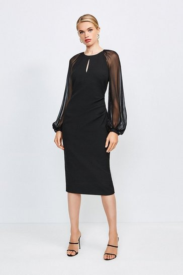 Black Structured Crepe Gathered Sheer Sleeve Dress