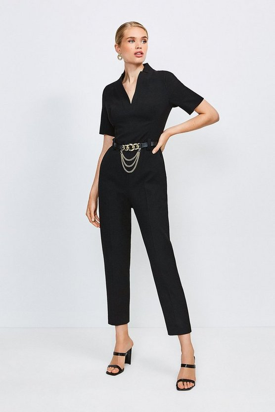 Black Forever Chain Belt Jumpsuit