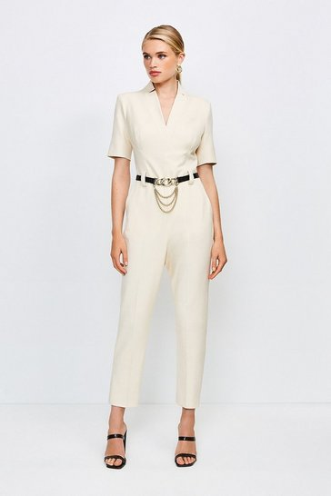 Cream Forever Chain Belt Jumpsuit