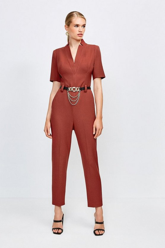 Rust Forever Chain Belt Jumpsuit