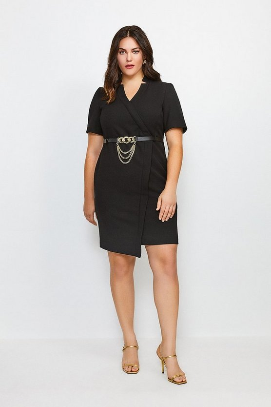 Black Curve Forever Chain Wrap Dress