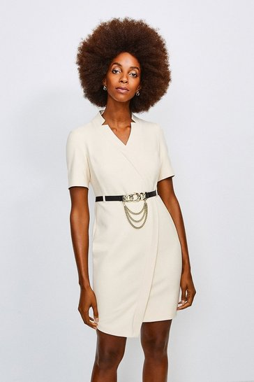 Cream Forever Chain Wrap Dress