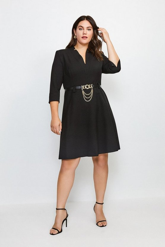 Black Curve Forever Chain Belt A Line Dress