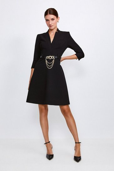 Black Forever Chain Belt A Line Dress