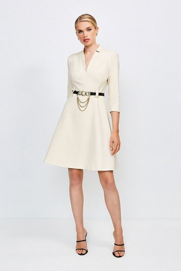 Cream Forever Chain Belt A Line Dress