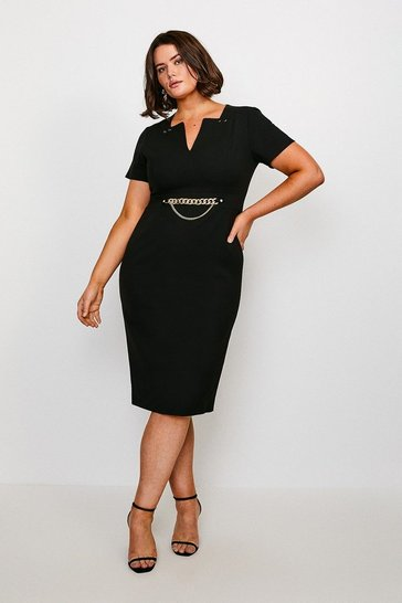 Black Curve Structured Crepe Snaffle Dress