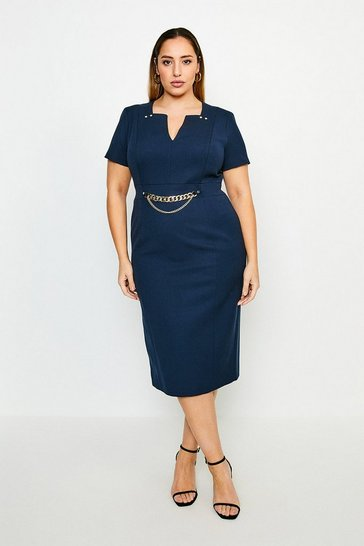 Navy Curve Structured Crepe Snaffle Dress