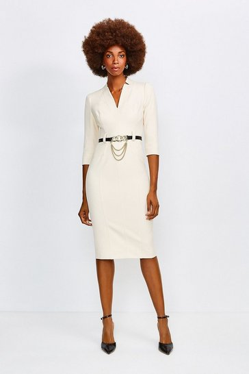 Cream Forever Chain Belt Dress