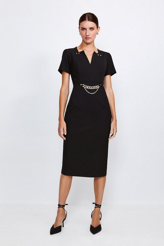 Black Structured Crepe Snaffle Dress