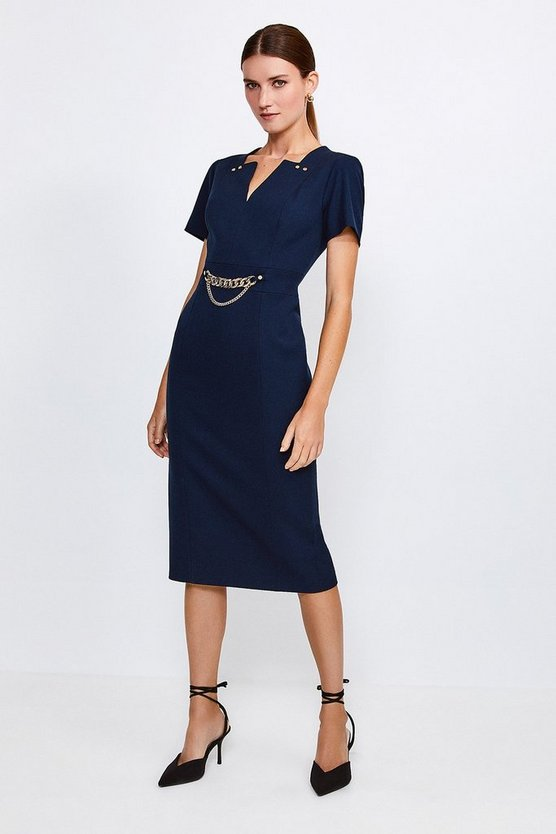 Navy Structured Crepe Snaffle Dress