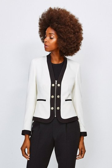 White Zip Front Military Jacket