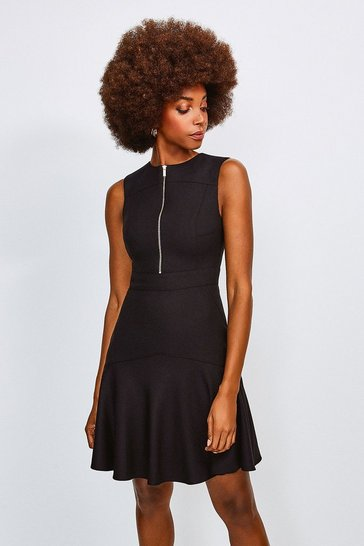 Black Luxe Topstitch Dress