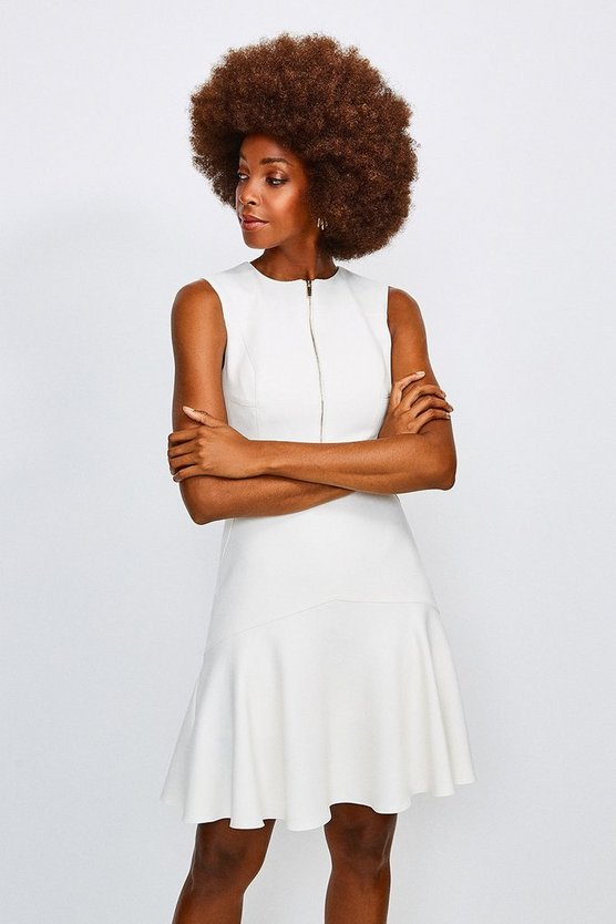 Ivory Luxe Topstitch Dress