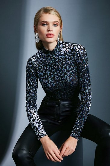 Leopard Devore Long Sleeve Funnel Neck Top