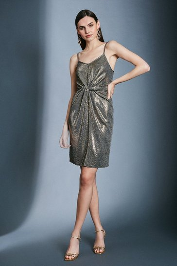 Gold Sequin Strappy Knot Jersey Dress
