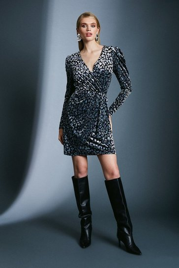 Leopard Devore Wrap Dress