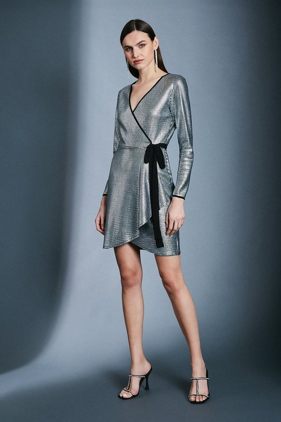 Silver Sequin Wrap Jersey Dress