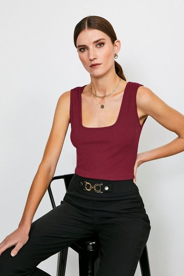Berry Scoop Neck Jersey Rib Vest