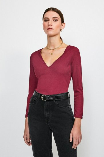 Berry Jersey Rib V Neck T-Shirt