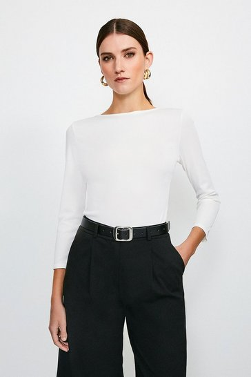 Ivory Scoop Back Jersey Rib Body