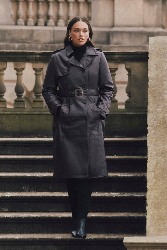 Black Curve Leather Trench Coat