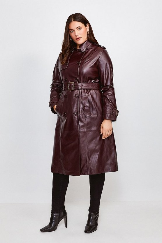 Fig Curve Leather Trench Coat