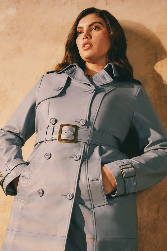 Pale blue Curve Leather Trench Coat