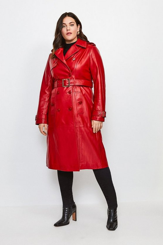 Red Curve Leather Trench Coat