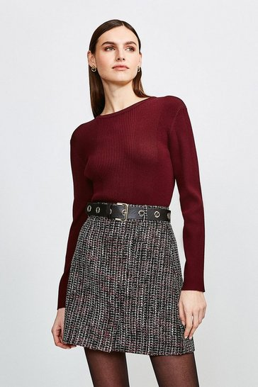 Pink Tweed Eyelet Belted Skirt